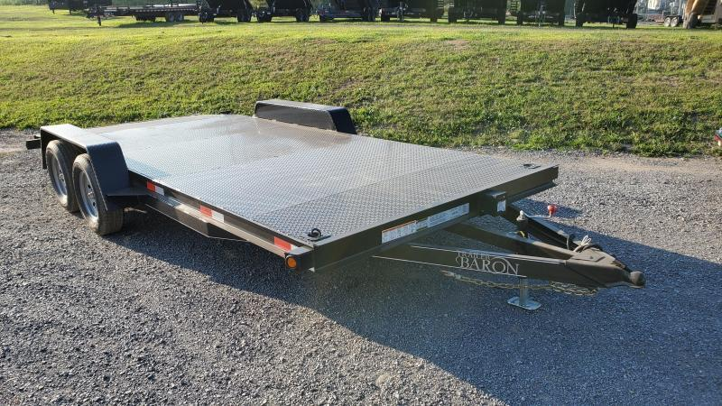 "Trailer Baron General Duty Diamond Deck Car Hauler 18' 7K - 5' Self Storing Ramps -5"" Channel Frame -4"" Channel Tongue -4' Dovetail -6 D-Rings On Floor -Heavy Duty Fenders -15"" Nitrogen Filled Radial Tires"