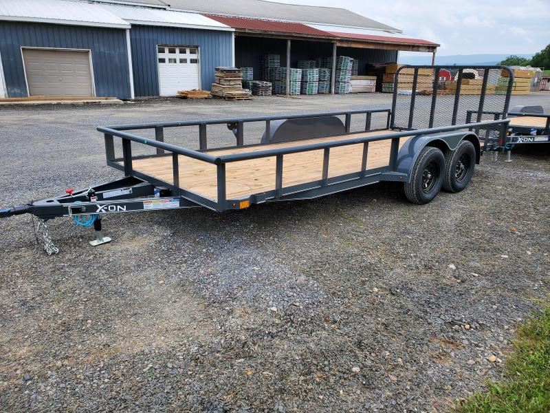 "2020 X-On Landscape Utility Trailer- 4"" CHANNEL FRAME COUPLER: 2"" A-FRAME COUPLER (7K) TOP RAIL: 2"" X 2"" ANGLE TOP JACK: 5K TOP-WIND, FLIP JACK: 24"" CENTER CROSSMEMBERS – 2""X3""X3/16"" ANGLE: SMOOTH TEARDROP FENDERS: STRAIGHT DECK 4' SPRING"