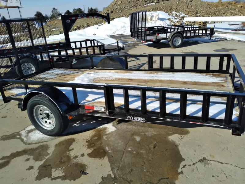 "Quality Trailers Pro Grade Single Axle Landscape 14'X77"" -Optional ATV Rails -4' Landscape Gate -3""x3""x3/16"" Angle Frame -3"" Channel Tongue -2""x2"" Square Tube Top Rail -15"" Nitrogen Filled Radial Tires"