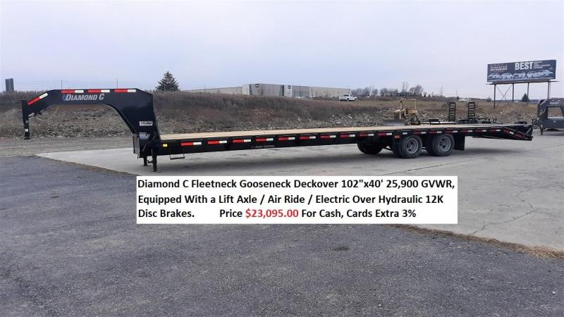 "Diamond C Deckover Gooseneck 102""x40' 25.9K -Max Ramps -16"" Engineered Beam Frame -12"" Engineered Neck -Electric Over Hydraulic Disc Brakes -Air Ride With Lift Axle -17.5"" 16 Ply Dual Nitrogen Filled Radial Tires"