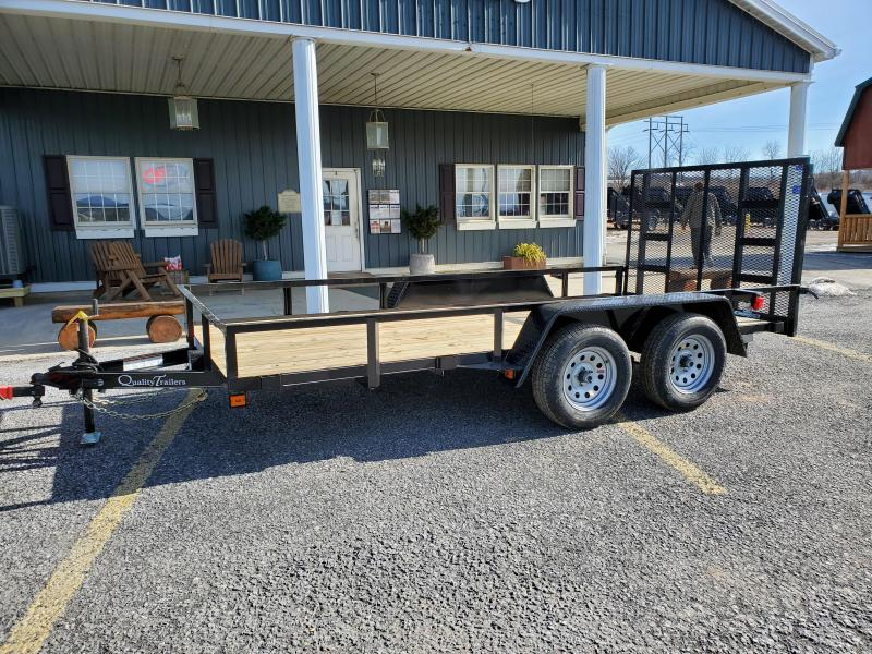 "Quality Trailers Economy Landscape - 14'x77"" - 7000 GVWR - 15"" Radial Tires - 4' Rear Gate"