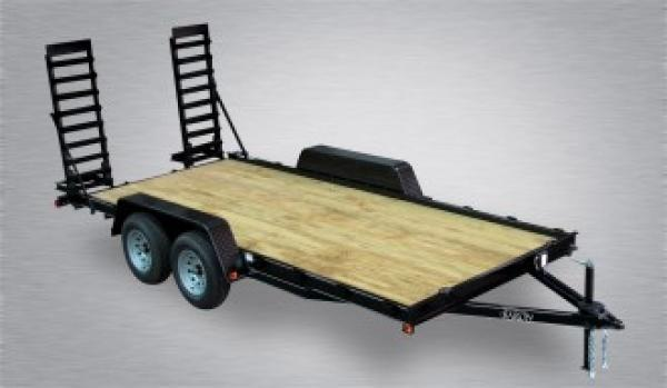 "Trailer Baron Economy Equipment 18' 10K -5' Swing Up Ramps -5"" Frame -4"" Tongue -No Dove -Stake Pockets -(2) 4000# Braking Axles -15"" Nitrogen Filled Radial Tires"