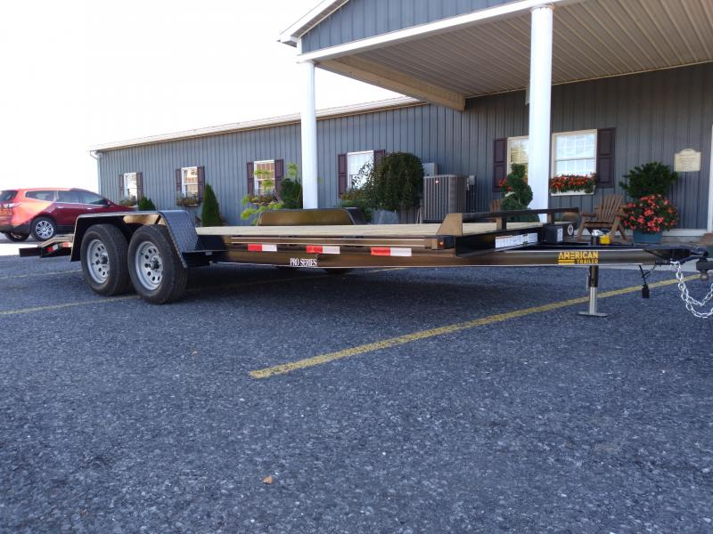 American Trailer Pro Grade Wood Deck Car Hauler 18 7K 5 Punched Surface Ramps 5 Channel Frame 4 Tongue 2 Dovetail LED Lights Heavy Duty Fenders 15 8 Ply Nitrogen Filled Radial Tires