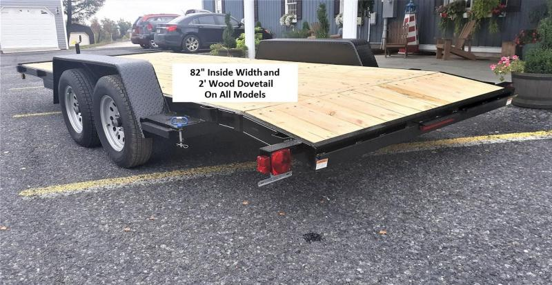 Pro Grade Wood Deck Car Hauler 18 7K 5 Punched Surface Ramps 5 Channel Frame 4 Tongue 2 Dovetail LED Lights Heavy Duty Fenders 15 8 Ply Nitrogen Filled Radial Tires