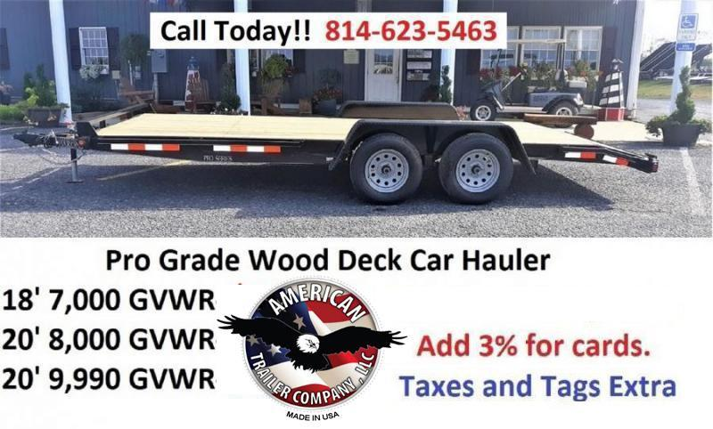Trailer Baron Pro Grade Wood Deck Car Hauler 18 7K 5 Punched Surface Ramps 5 Channel Frame 4 Tongue 2 Dovetail LED Lights Heavy Duty Fenders 15 8 Ply Nitrogen Filled Radial Tires