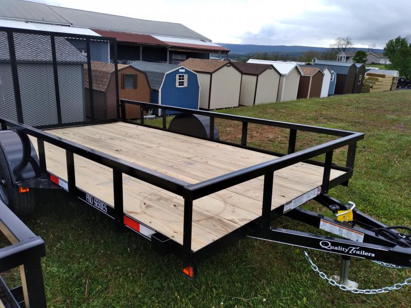 "Quality Trailers Pro Grade Single Axle Landscape 12'X77"" -4' Landscape Gate -3""x3""x3/16"" Angle Frame -3"" Channel Tongue -2""x2"" Square Tube Top Rail -15"" Nitrogen Filled Radial Tires"