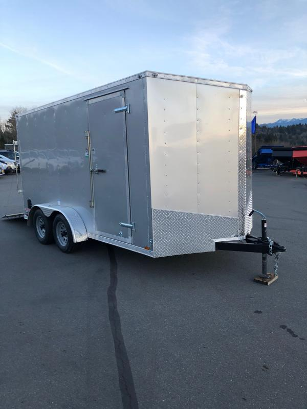 "2021 Cargo Mate E-Series 7x14 W/6"" additional Height Rear Ramp Door Enclosed Cargo Trailer"