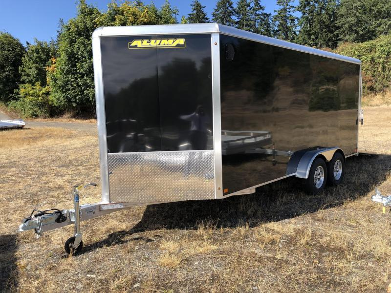 2021 Aluma AE716TA 7X16 W/ AMP PKG Spare Tire/Wheel/ Wall Mount Enclosed Cargo Trailer