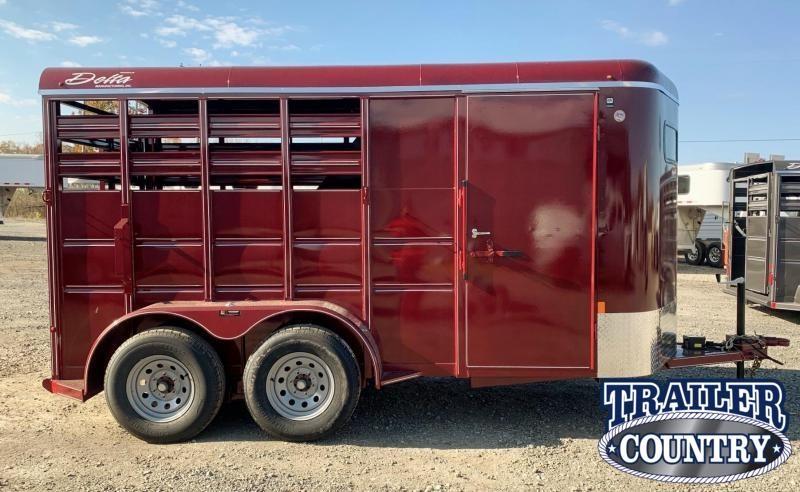 2021 Delta Manufacturing 500 14'  2 Horse Stock Combo Livestock Trailer