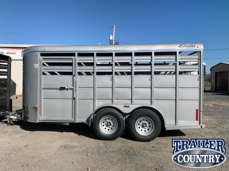 2021 Delta Manufacturing 16' 3 Horse Stock Combo Livestock Trailer