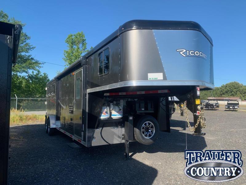 2022 Bison Trailers Ricochet 3 Horse Living Quarters Trailer w/Slide