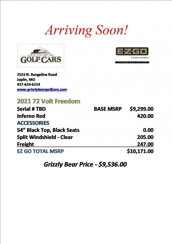 2021 E-Z-GO 72 Volt Freedom Golf Cart
