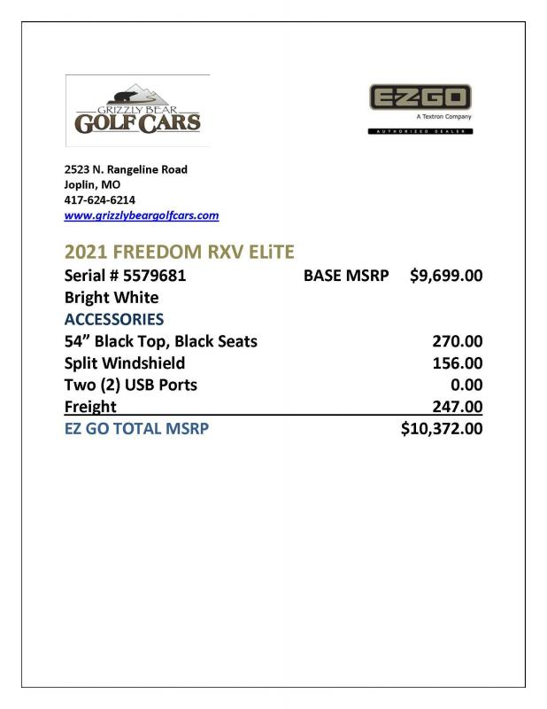 2021 E-Z-GO Freedom RXV Elite Golf Cart