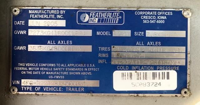 """2005 Featherlite 24'x7'6""""x6'6"""" GN"""