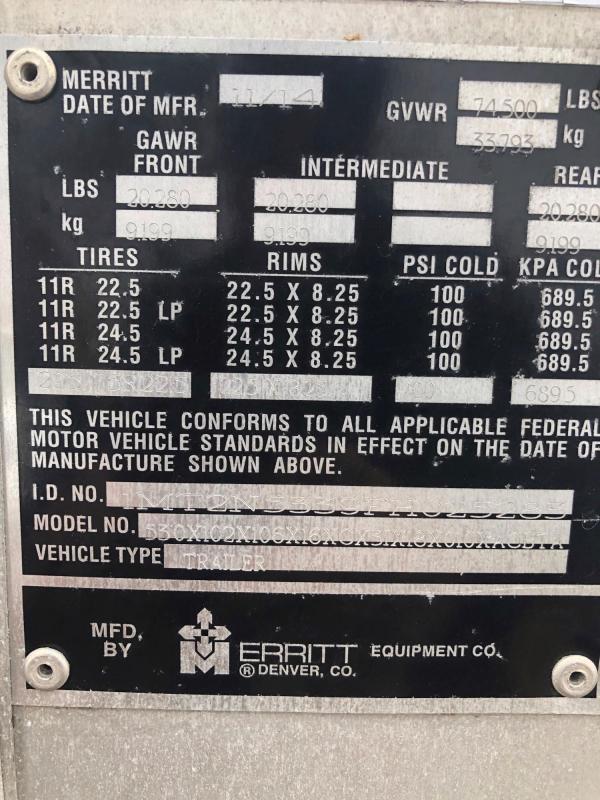 """2015 Merrit 53'x102""""x13'6"""" Tri-Axle Combo Pot"""