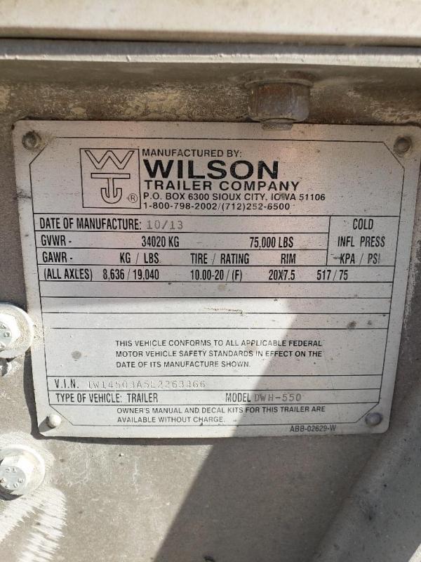 """2014 Wilson 50'x96""""x72' Tri-Axle Hopper"""