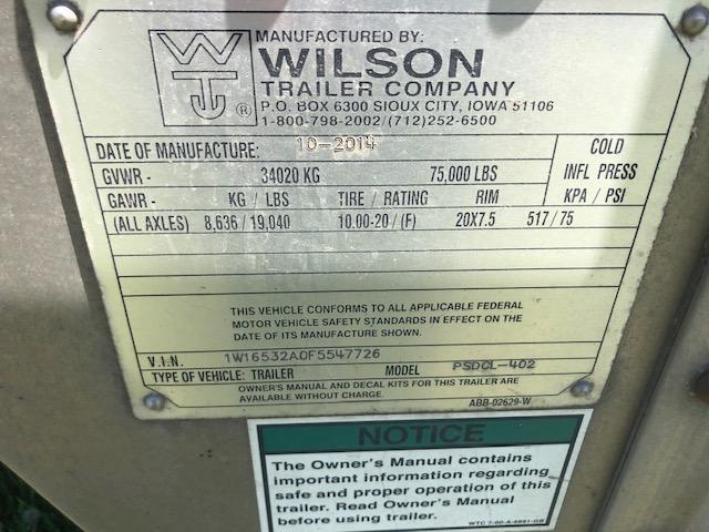 2015 Wilson Spread Axle Livestock Trailer