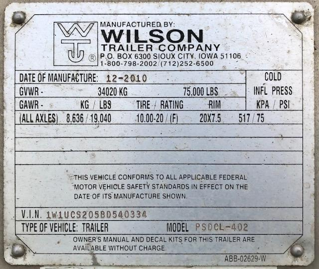 2011 Wilson 53' Quad Axle Cattle Pot