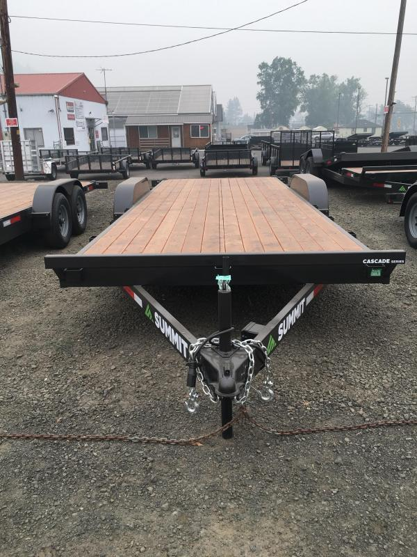 2022 Summit Cascade Flat Bed CAR HAULER C722TA4 14K Equipment Trailer