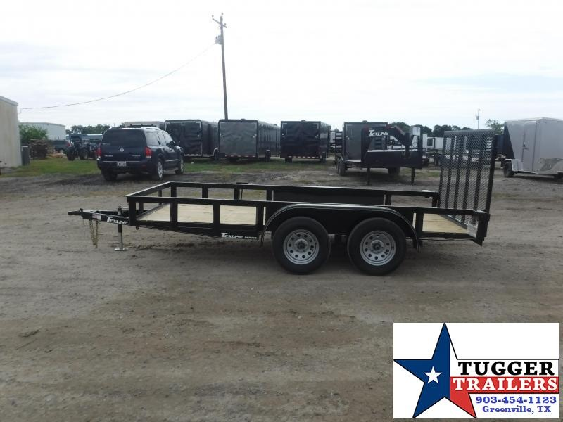 2020 TexLine 77x14 14ft Flatbed Pipe Tip Toy Side Camp Move Utility Trailer
