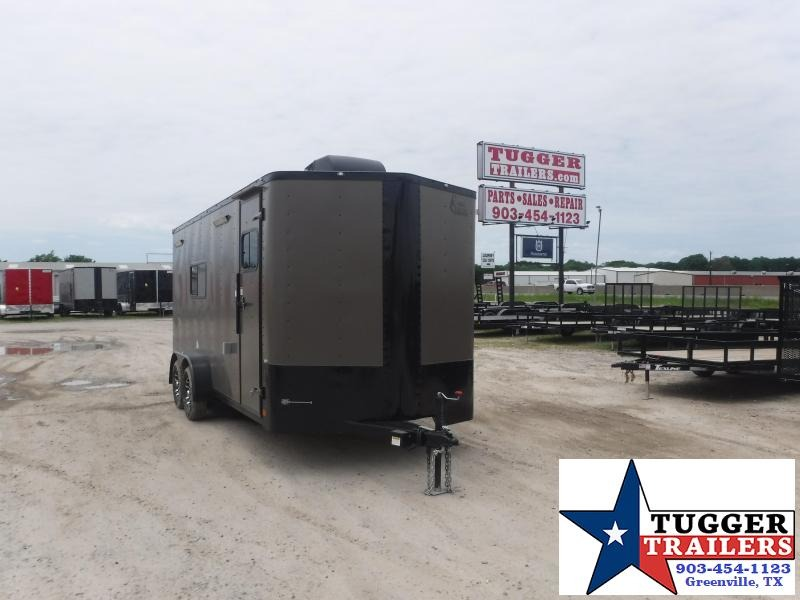 2021 Cargo Craft 7x18 18ft Utility Toy Black Out Side Four Camp Enclosed Cargo Trailer