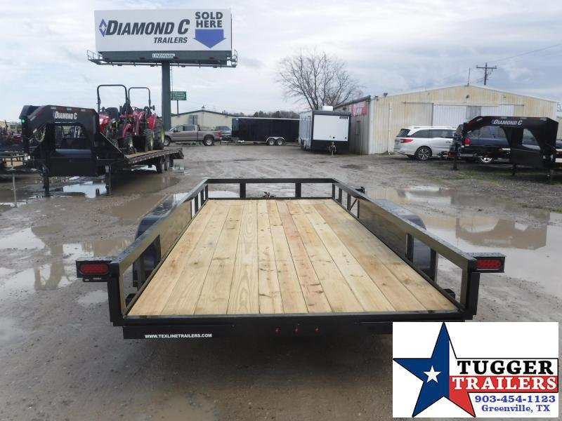 2021 TexLine 77x16 16ft Open Side Move Travel Tailgate Four Utility Trailer