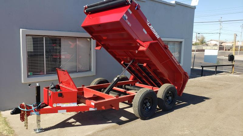 Lamar Mini Dump Trailer 5x10 9990 GVWR Ramps Deluxe Tarp Kit Adj Coupler
