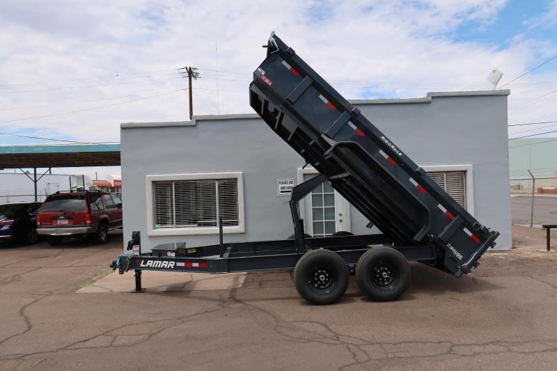 2021 Lamar Heavy Duty Dump Trailer- 7x14- 14000# GVWR- 7 GAUGE FLOOR- 12 inch cross pieces- Scissor Lift- FREE SPARE- Ramps- Support Jacks- Deluxe Tarp Kit- 3-way Spreader Gate- Adj Coupler- Cash Discounts (See Below)