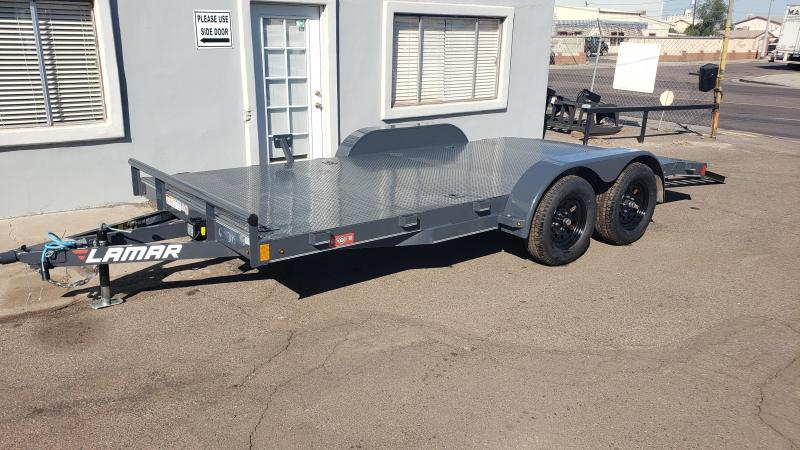 2021 Lamar CE-3.5k-16 Car steel deck  / Open Car Trailers-Steel deck- 7000# GVWR- D-rings-
