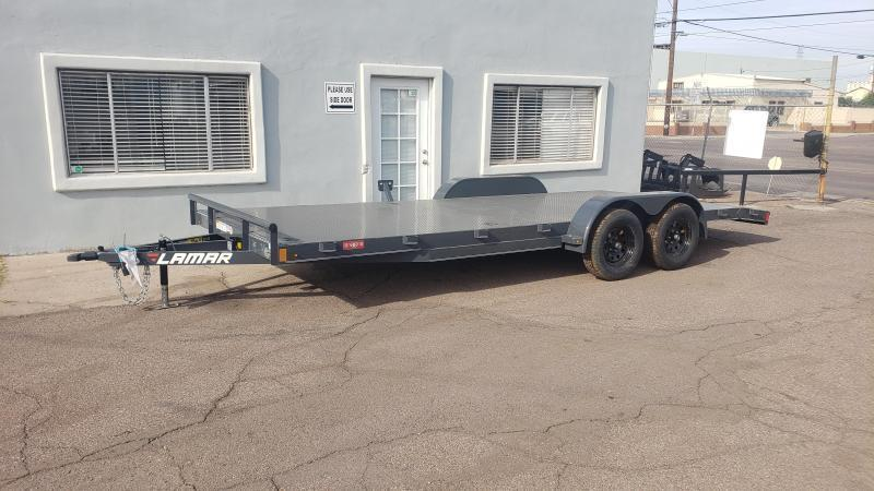 2020 Lamar 20' Open Car hauler 7000# GVWR- Steel deck- 8 flush mount D-rings-  2' dove tail- slide in rear ramps- Free spare tire - **cash discounts** See below
