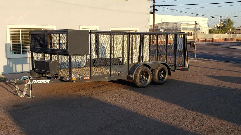 2021 Lamar Landscape Trailer--7000# GVWR- 4' spring assist gate- weed eater rack- full toolbox- Water Rack- Gas can rack-4' mesh sides-cash discount ** See Below**