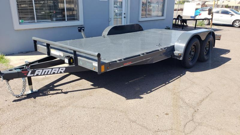 2021 Lamar CE-3.5k-16 Car steel deck  / Open Car Trailers-Steel deck- 7000# GVWR- Rub Rails - D-rings- Free Spare Tire