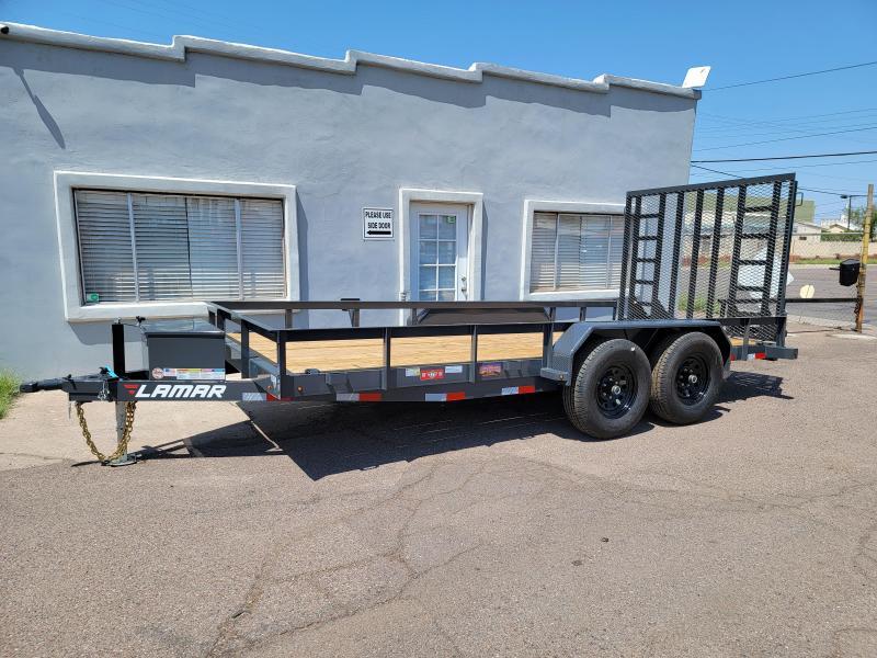 2020 Lamar U5-5.2k-16 Utility Trailer- 16' foot long-toolbox- 9990# GVWR- wood Deck- 4  D-rings-Stand up ramps- cash discount ** See Below**