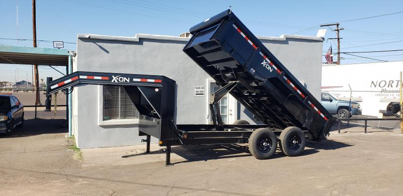 2021 X-on Dump Trailer-  Gooseneck Dump Trailer- 7 Gauge 1 Piece Floor-Tarp Kit- 2Way Gate- Ramps -Dual Jacks
