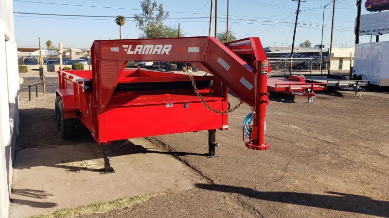 2021 Lamar Trailers DL-7k-14 Dump Trailer-Gooseneck- 8k oil bath axles- 21k lb Scissor lift- Tarp- Ramps - Battery Charger- 7 Gauge Floor - Powder coat finish.***Cash Discounts- see below***