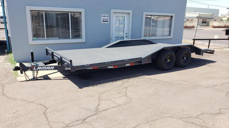 "2020 Lamar Trailers 102"" wide -drive over fenders CC-5.2k-20 Steel Deck Car / Open Car Trailers - 8 flush mount D-rings- Steel deck - 9990# GVWR - ** Cash Discounts- see below***"