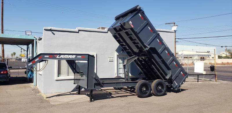 2021 Lamar Trailers DL-7k-14 Dump Trailer- Tarp- Ramps - Battery Charger- 7 Gauge Floor - Powder coat finish. 3' walls - Gooseneck