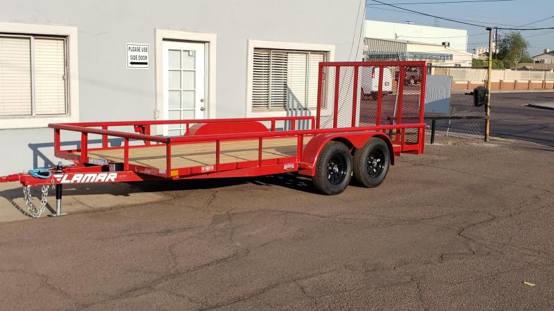 2021 Lamar 16' Utility Trailer-7000# GVWR-Pipe top- 4' spring assist gate- free spare- cash discount ** See Below**