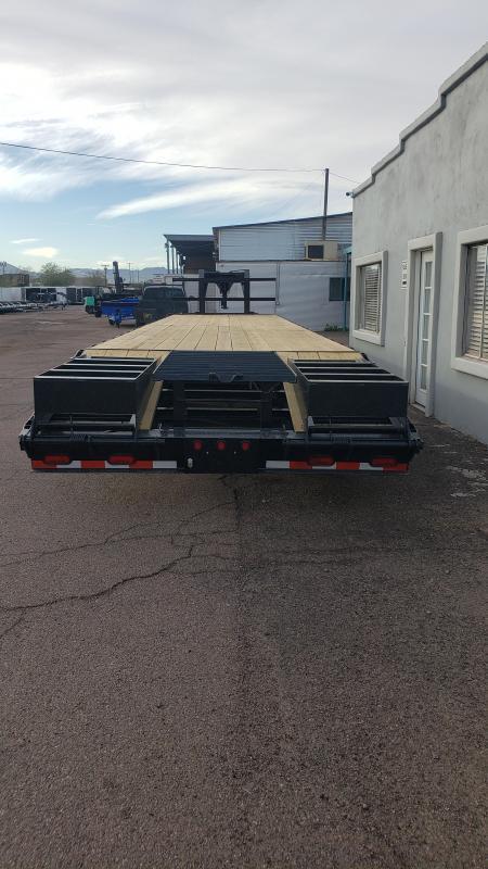 2020 High Desert Trailers Flatbed Gooseneck- 12k Dexter axles- 25k GVWR-Lay flat Ramps with Center Pop up.