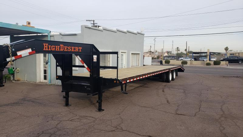 2020 High Desert Trailers Flatbed Gooseneck- 12k Dexter axles- 25k GVWR-Lay flat Ramps with Center Pop up.