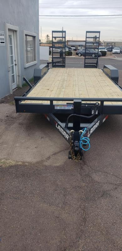"""2021 H6 20' Equipment hauler -14000# GVWR- wood deck- 6"""" channel Frame-Stand Up ramps- 2' dove tail-"""