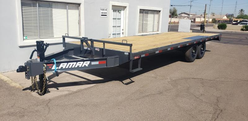 "2021 Lamar Trailers F8-7k-22 Deck Over Flatbed Trailer-14,000# GVWR -  Pull out Ramps - 8"" I beam Frame - ***cash discounts available- see below ***"