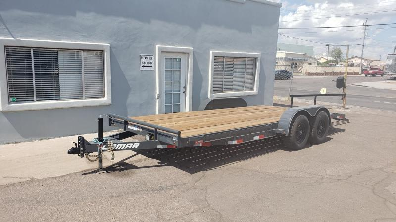 2021 Lamar Trailer Car Hauler / Open Car Trailers-wood deck-pull out ramps #9990 GVWR- 6 flip Drings-  **Cash Discounts*** see below