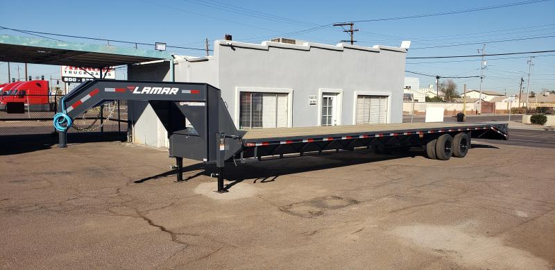 2021 Lamar Trailers 40' Flatbed Trailer-10k Axles- Full Width Spring Assist Mega Ramps-