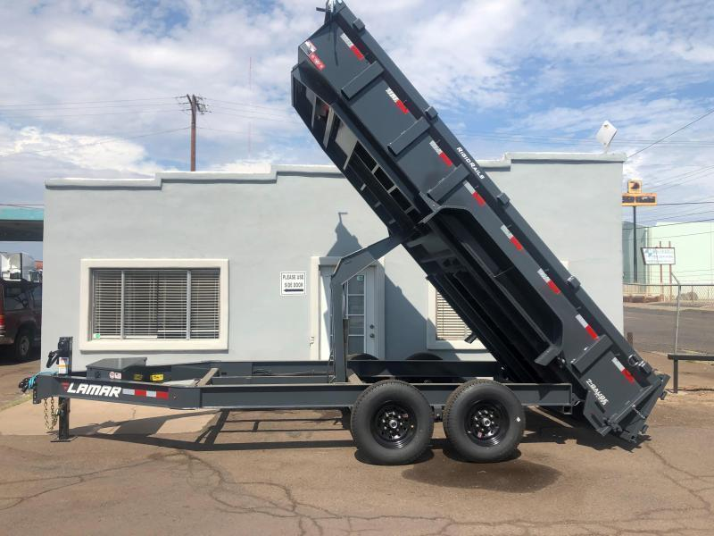 2021 Lamar 16'  Dump Trailer -14000# GVWR - spreader gate- scissor lift- tarp- ramps-rear support jacks-  cash discounts.   See Below
