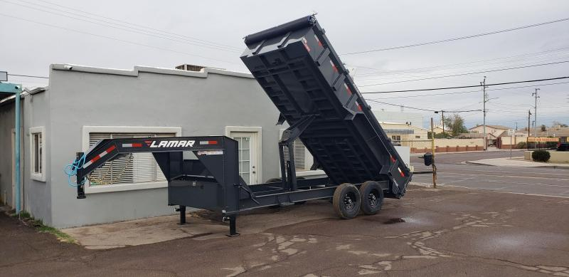 2021 Lamar Trailer  16' Long -  14K # GVWR- Gooseneck Dump Trailer- Tarp- Ramps - Battery Charger- 7 Gauge Floor - Powder coat finish.