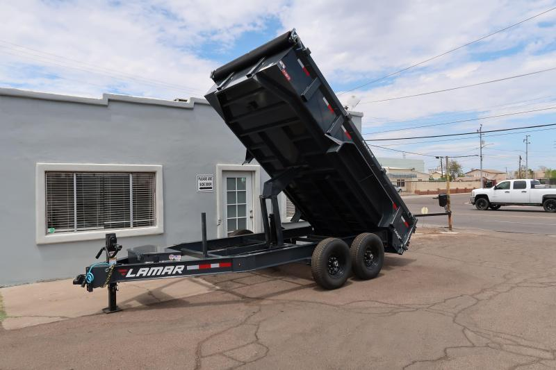 **ON SALE  2021 Lamar-14' Dump Trailer-7 Gauge 1 Piece Floor - Rigid Rails- Tarp Kit- 2 Way Gate- Ramps