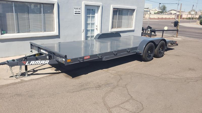 2021 Lamar 20ft steel deck Car / Open Car Trailers-4 D-rings - Cash Discounts- LED Lights- Sealed Wiring Harness- Removable Fenders- Powder Coated