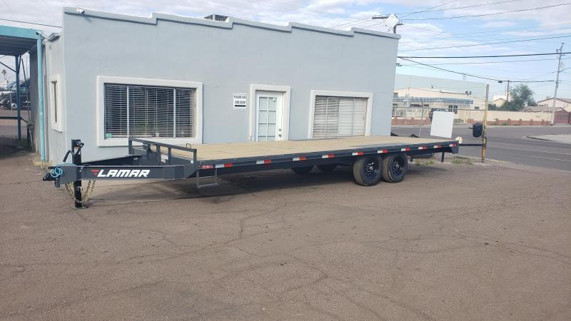 2021 Lamar Trailer-F8-7k-24-Deck Over Flatbed Trailer- 14000 GVWR-Powder Coat FInish-7 ft pull out ramps- ***Cash discounts available- see below**