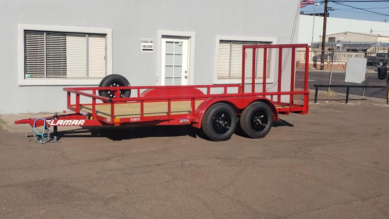 2021 Lamar 14' Utility Trailer-7000# GVWR-Pipe top- 4' spring assist gate- free spare- cash discount ** See Below**